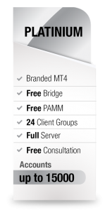 MetaTrader4 White Label Platinum package from Advanced Markets includes branded MT4, free bridge, free PAMM, 24 client groups, full server, free consultation and up to 15000 accounts.