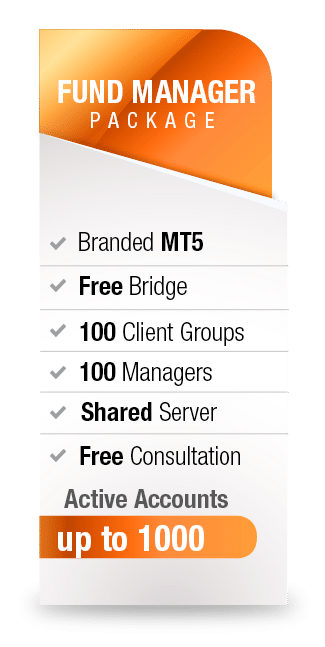 MetaTrader5 White Label Fund Manager package from Advanced Markets includes branded MT5, free bridge, 100 client groups, 100 managers, shared server, free consultation and up to 1000 active accounts.