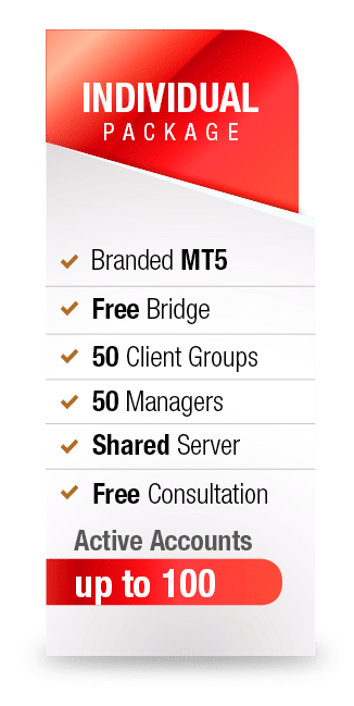 MetaTrader5 White Label Individual package from Advanced Markets includes branded MT5, free bridge, 50 client groups, 50 managers, shared server, free consultation and up to 100 active accounts.